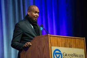 GVL / Luke Holmes - Kevin Powell speaks in the Fieldhouse Arena on Martin Luther King Jr. Day.