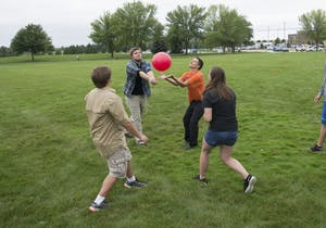 GVL / Luke Holmes - Students play a game with a ball. The Paleo-Olympics were held in the KC West Lawn on Friday, Sept. 23, 2016.