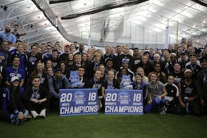 GVL / Emily Frye GVSU Track and Field take the GLIAC Championship title for both men's and women's, adding points to the university en route to the president's cup