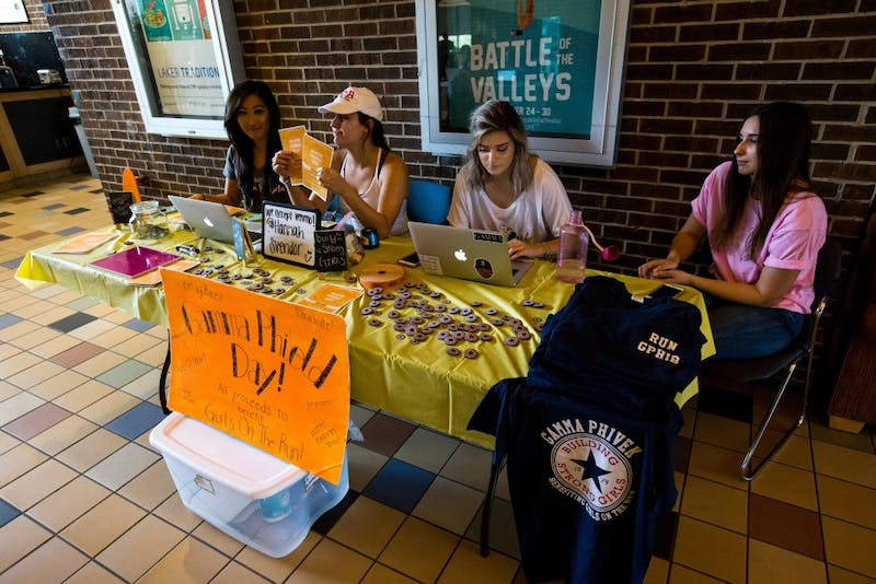 GVL / Matt Read     The Sorority Gamma Phi sets up a booth in Kirkhoff on Tuesday, October 3rd. Their goal is to raise money for Girls on the Run