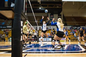 GVL / Spencer Scarber Grand Valley State University University's Womens Volleyball dominated Tiffin University during their second home game of the season on Saturday September 16, 2017.