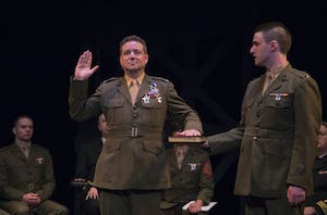 "A Marine swears in on stage during opening night of Circle Theatre's ""A Few Good Men"" May 31. Courtesy / Kyle Way"