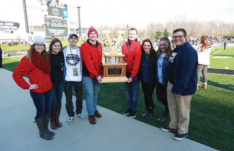 GVL / Kevin Sielaff - The BOTV trophy is presented during halftime.  Grand Valley squares off against SVSU Nov. 14 in Allendale. The Lakers hold on and win with a final score of 24-17.
