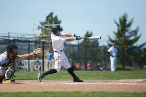 GVL / Luke Holmes -  Josh Smith (9) steps up to the plate. GVSU Men's Baseball faced off against Ohio Dominican in a double header on Saturday, April 8, 2017.