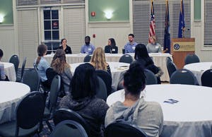 GVL/Hannah Zajac— 5 Under 35 event, where students were able to listen to Grand Valley graduates about how to be successful in colege and transition into the professional world, on Thursday 1 Feb 2018.