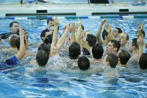GVL / Emily FryeGVSU Men's and Women's Swim and Dive team compete on the final day of competition during the GLIAC Championships on Saturday February 17, 2018.