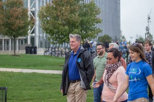GVL / Dylan McIntyre. Friday, October 13th, 2017. The Walk with President T Haas happened on Friday by the clock tower, promoted by Campus Rec.