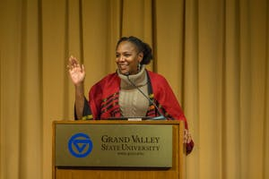 GVL / Dylan McIntyre. Wednesday, February 17, 2018. Bree Newsome speaking at GVSU for MLK week.