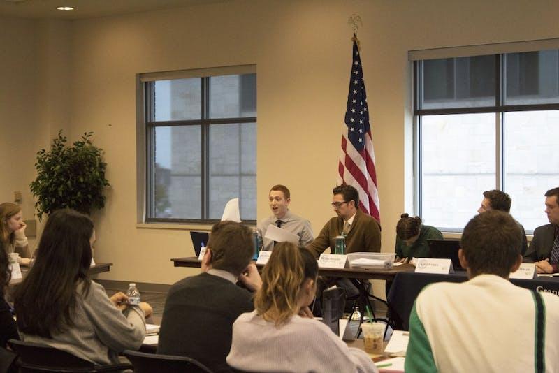 GVL / Hannah HillStudent Senate meeting on Thursday, October 12, 2017.