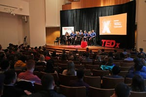 GVL/Kevin Sielaff - Euphoria acappella group performs during the TEDxGVSU event held in Grand Valley's Cook-DeWitt Center on Friday, Feb. 24, 2017.