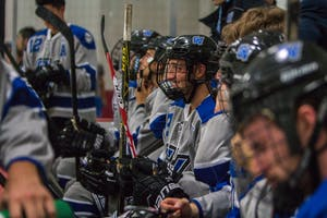 GVL / Spencer Scarber Grand Valley State Mens D3 Hockey team secures the 5-0 win over UM-Flint on September, 22, 2017