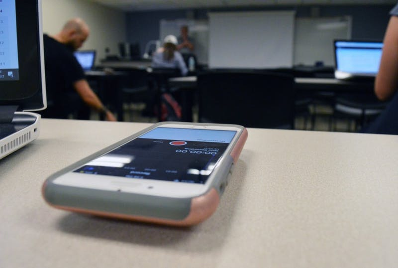 GVL/Hannah Zajac-- Students recording lectures on 10 Oct 2017.