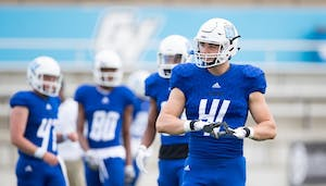 GVL/Luke Holmes Keizer prepares for a home game against Tiffin. The tight end will compete for a spot with the Baltimore Ravens this fall.