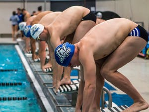 GVL/ Spencer Scarber Grand Valley State Swim and Dive team compete against teammates at October 7, 2017 swimmeet.