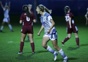 GVL / Emily FryeGabriella Mencotti cheers after making her 2nd goal of the game against Florida Tech on Wednesday October 11, 2017.