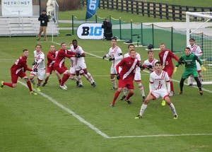 Players from both IU and Wisconsin crowd the box waiting for a corner kick from IU junior midfielder Trevor Swartz on Sunday afternoon at Grand Park in Westfield, Indiana. IU lost the Big Ten Tournament Final to Wisconsin in penalty kicks, but still received the No. 2 overall seed in the NCAA Tournament.