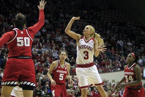 Senior guard Tyra Buss shoots a 2-pointer against Nebraska. Buss and Amanda Cahill were honored for senior day during the game Saturday, Feb. 17, and they won 83-75.