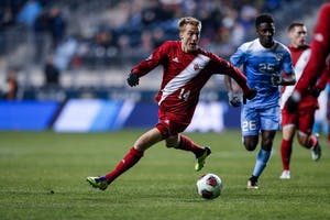 Freshman midfielder Griffin Dorsey looks to pass the ball to a teammate during the second half of the NCAA semifinal against North Carolina on Dec. 8 at Talen Energy Stadium in Philadelphia. The Hoosiers won 1-0 and will play Stanford on Sunday for the NCAA title.