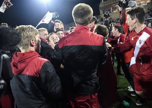 IU celebrates after defeating Michigan State on PKs, 3-2, following a 1-1 draw Oct. 29, 2017 at Bill Armstrong Stadium. Assistant coach Brian Maisonneuve will now be the head coach for Ohio State after being with IU for nine years.