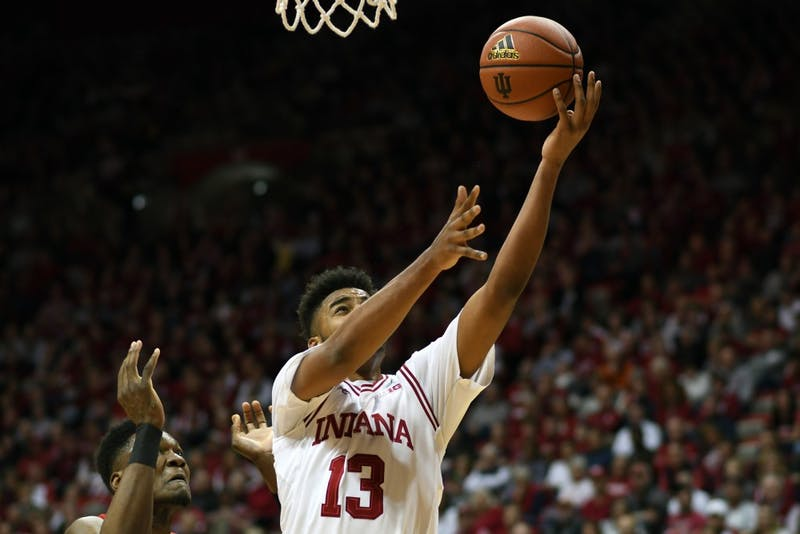 Junior forward Juwan Morgan goes to the basket against Maryland Monday evening in Simon Skjodt Assembly Hall. IU defeated Maryland, 71-68.