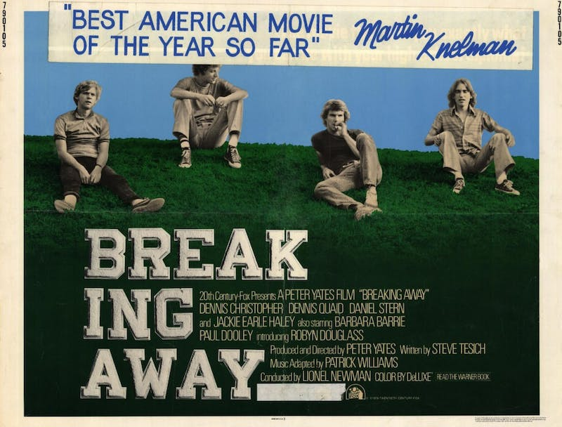 """""""Breaking Away,"""" directed by Peter Yates, was released in 1979. The film focuses around one of the main characters, Dave, and his victory in the Little 500 for the Cutters team."""