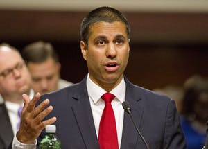 Federal Communications Commission Chairman Ajit Varadaraj Pai testifies on Wednesday, July 19, before the U.S. Senate Committee on Commerce, Science and Transportation on Capitol Hill in Washington, D.C.