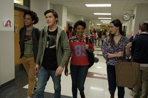 "Jorge Lendeborg Jr., Nick Robinson, Alexandra Shipp and Katherine Langford star in the 2018 film ""Love, Simon."" The film focuses on the romantic struggles of Simon, a gay high schooler."