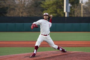 Freshman pitcher Tommy Sommer pitches the ball during IU's 9-8 win against Ball State on Wednesday night at Bart Kaufman Field. Sommer pitched 4.1 innings and threw six strikeouts.