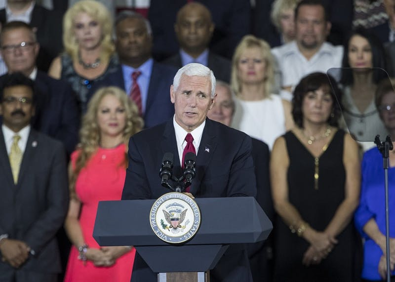 Vice President Mike Pence speaks at the Wylam Center of Flagship East on Sept. 22. Pence will make his second visit to Indiana this Thursday.
