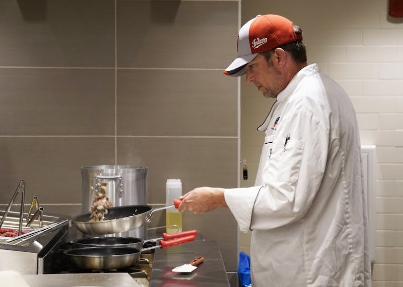 Chef of Goodbody Eatery Darren Worth prepares a Japanese inspired dish, Gyudon Beef Bowl, at the new dining hall. Chef Worth has been cooking since he was 14 and was a chef at The Maxwell House in Tennessee and the Crown Plaza in Albuquerque before being a chef at Goodbody Eatery.