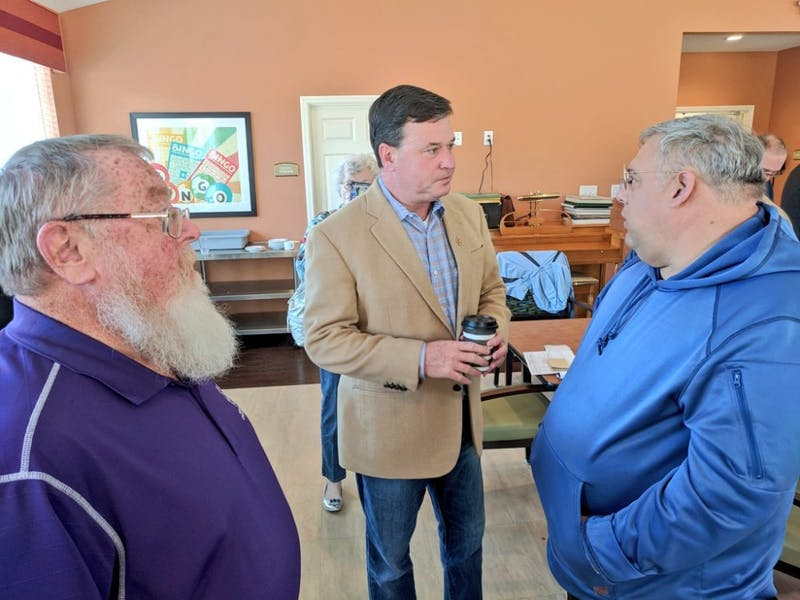 Rep. Todd Rokita, R-4th District, speaks at a meet-and-greet Saturday at Gentry Park Bloomington Senior Living Community. The former Indiana secretary of state is one of the multiple Republicans running to eventually unseat Sen. Joe Donnelly, D-Indiana.