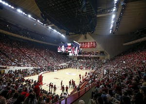 People pack into Simon Skojdt Assembly Hall for Hoosier Hysteria on Oct. 21, 2017. IU earned the six seed and will play the winner of Minnesota and Rutgers on Thursday at approximately 9 p.m.