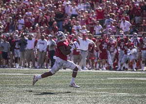 J-Shun Harris II returns the Georgia Southern's punt 70 yards for a touchdown. Harris is returning to IU for his fifth season after tearing his ACL for a third time.