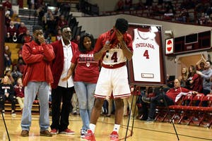Senior guard Robert Johnson gives his senior day speech after the Indiana Ohio State basketball game Friday evening in Simon Skjodt Assembly Hall. Johnson is one of five seniors on IU's team.