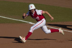 Then-junior Rebecca Blitz, now a senior, runs on the base paths at Andy Mohr Field during a game in the 2017 spring season. IU went 1-3 in the Oklahoma Tournament March 9 through 11, at Oklahoma University, in Norman, Oklahoma.