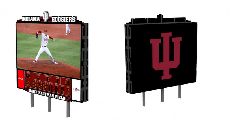 A rendering provided by IU Athletics shows what the new scoreboard for Bart Kaufman Field will look like. The scoreboards should be up and running by March 7.