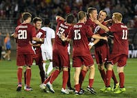 IU celebrates after senior defender Grant Lillard scores the first of IU's five goals against Santa Clara Sept. 30 at Bill Armstrong Stadium. The Hoosiers face Wisconsin this Saturday night for Senior Night.