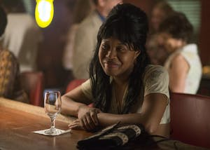 "Dominique Fishback stars in the HBO show ""The Deuce."" Fishback, who is a Pace University graduate, plays a prostitute named Darlene on the show."