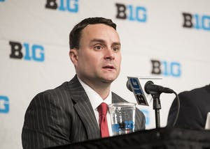 Head Coach Archie Miller speaks at a press conference during Big Ten Media day at Madison Square Garden on Thursday. Miller, along with three IU players, made the trip to New York City to attend the conference media availability.