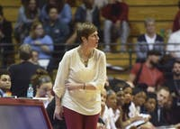 Head Coach of women's basketball Teri Moren calls out a play against Iowa in Simon Skjodt Assembly Hall in February 2017. Moren will lead a younger, less experienced team this season.