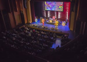 The Mersey Beatles play their set Friday night at the Buskirk-Chumley Theater, which was packed for the tribute band's third performance in Bloomington. All of the Mersey Beatles are from from Liverpool, the hometown of the original Beatles quartet.