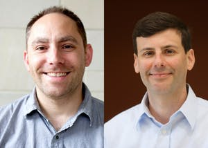 Assistant professor Dan Kennedy (left) and co-author Brian D'Onofrio (right) helped lead a study at IU that found twins follow similar eye patterns when looking at their environments. The study on twins was one of the largest eye-tracking studies.