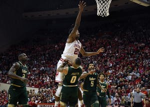 Sophomore forward De'Ron Davis goes to the basket against South Florida on Sunday evening at Simon Skjodt Assembly Hall. Davis had twelve points in IU's 70-53 win against South Florida.