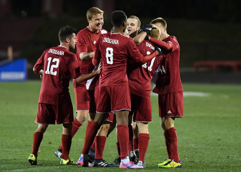 IU celebrates after junior midfielder Cory Thomas scores a goal in the first half against New Hampshire in the third round of the NCAA tournament at Bill Armstrong Stadium. IU defeated New Hampshire, 2-1, to advance to the quarterfinals of the NCAA tournament against Michigan State.