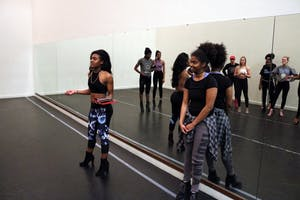 "Alexis Deverly, teacher of Heels Dance Hip Hop dancing class at IU, talks in front of the students about the class schedule.  IU's Hip Hop ConnXion will perform ""Set It Off"" at 6:30 p.m. Sunday in the Buskirk-Chumley Theater."