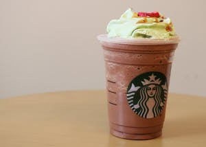 The Christmas Tree frappuccino recently came out at Starbucks. The drink consists of mocha and peppermint, matcha-infused whipped cream, a caramel drizzle, candied cranberries and a strawberry topper.