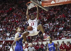 Junior forward Juwan Morgan dunks the ball during the Hoosiers' game against the Indiana State Sycamores on Nov. 10. Morgan's performance on Sunday helped lift IU to a home win against South Florida.