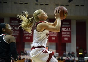 Senior guard Tyra Buss attempts a layup against Louisville on Nov. 30 in Simon Skjodt Assembly Hall. Buss and the Hoosiers get set to play No. 10 Ohio State at home on Saturday.