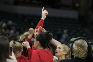 The IU women's basketball team huddles at the beginning of their first game in the Big Ten Tournament. IU will face UT-Martin at 7 p.m. on Thursday in Simon Skjodt Assembly Hall.