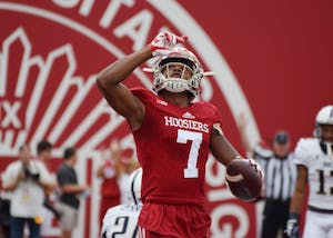 Redshirt freshman wide receiver Taysir Mack salutes the sky after scoring the game's first touchdown for IU against Charleston Southern on Oct. 7. Mack has become a consistent presence at wide receiver for IU this season after injuries to three other wide receivers.